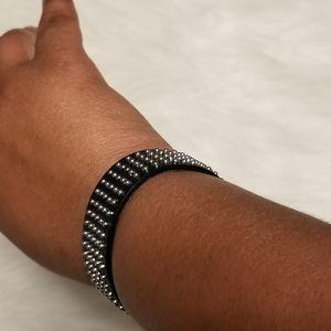 Nwt Silver Black Studded Bracelet